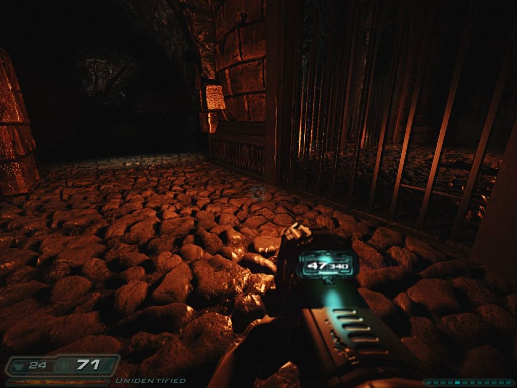 Parallax Occlusion mapping was not present in Doom 3 initially. Rather it is a newer rendering feature in games today. it is a more advanced step up from Normal mapping.