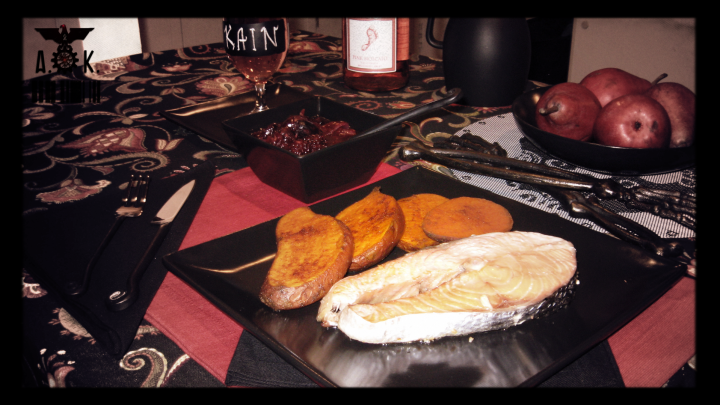 Spicy Roasted Yams, Salmon Steak with a side of sweet & tangy Red Onion Cran-Rasp-Blackberry sauce.
