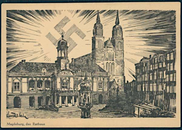 Magdeburg-Townhall-Drittes-Reich-Postkarten-I