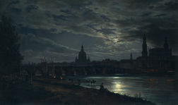 Johan Christian Dahl - View of Dresden by Moonlight-1839