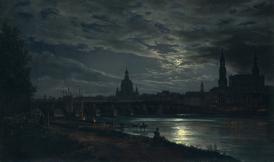 Johan Christian Dahl - View of Dresden by Moonlight-1839
