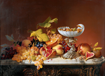 Johann Wilhelm Preyer - Südfrüchte mit Milchglasschale in Muschelform