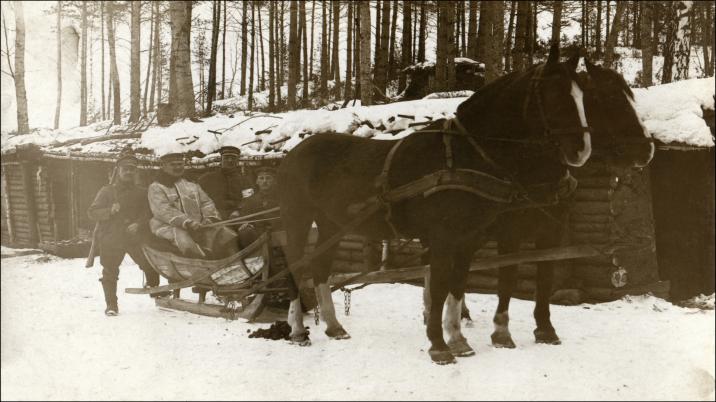Russland 1917, deutsche Soldaten, Pferdeschlitten